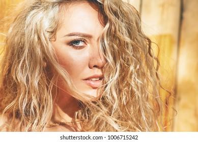 beautiful curly blonde portrait