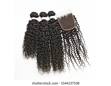 Beautiful curly hair bundles with closure