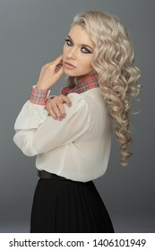 Beautiful Curly Hair. Smiling Girl With Healthy Wavy Long Blonde Hair. Portrait Happy Woman With Beauty Face, Sexy Makeup And Perfect Hair Curls. Volume, Hairstyle, Hairdressing Concept