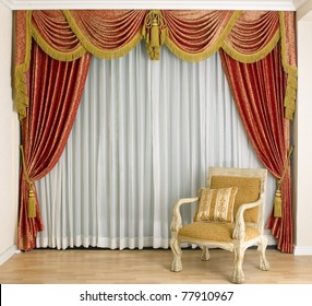 A beautiful curtain and empty space in a luxury living room