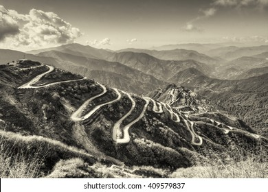 Beautiful Curvy roads on Old Silk Route, Silk trading route between China and India, tinted stock image, Sikkim