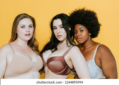 Beautiful curvy women with good body image