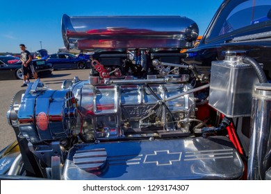 Beautiful custom car engine with supercharger all done in chrome and polished aluminium at a El Paso, Texas custom car show.