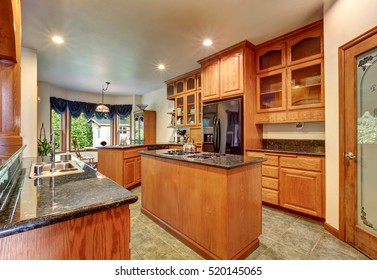 Beautiful custom designed kitchen room with gorgeous granite counter tops, kitchen island, black refrigerator and glass-front cabinets. Northwest, USA