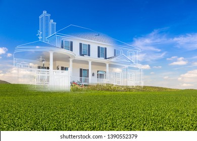 Beautiful Custom House Drawing and Ghosted House Above Green Landscape.