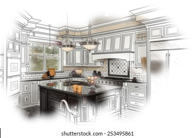 Interior design sketches kitchen Professional Beautiful Custom Kitchen Design Drawing And Photo Combination Shutterstock Kitchen Drawing Images Stock Photos Vectors Shutterstock