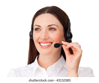 Beautiful customer service agent with headset on against a white background