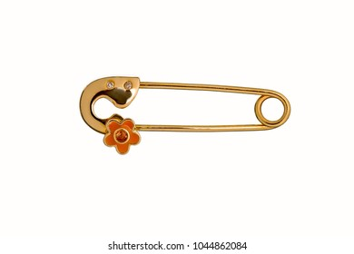 Beautiful Cute Baby & Kid safety Pin Brooch Jewelry with the safety pin design features a classic closure decorated throughout in rose gold and diamond, birthday baby gift isolated on white