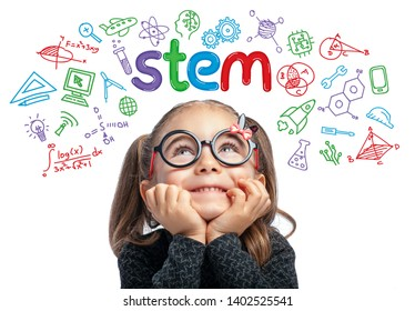 Beautiful cute little girl with eyeglasses looking at colorful STEM word and symbols above her head on white background.  E-learning, modern and innovative Stem education concept.