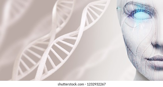 Beautiful cyborg female face among DNA stems. Over gray background.