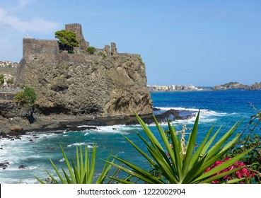 Beautiful Cyclops Riviera located north of Catania, Sicily, and linked to the giant Polyphemus, the giant son of Poseidon. The huge rocks are 70 meters high.