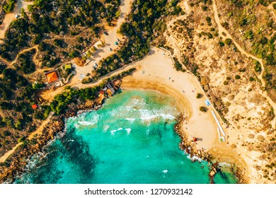 Beautiful Cyprus, Konnos Bay in Cape Greko natural park, rock arch near of Ayia Napa and promenade (molos) Limassol Cyprus and aerial photo of Limassol