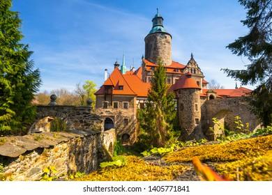 Beautiful Czocha Castle at sunny day in Lower Silesian Voivodeship, Poland