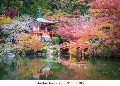 Beautiful Daigoji temple with colorful tree and leaf in autumn season Kyoto Japan