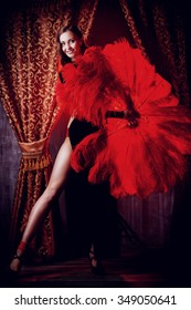 Beautiful dancer on the stage of cabaret. Performance. Beauty, fashion.