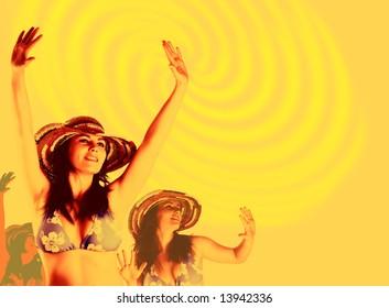 beautiful dancing women. Party background