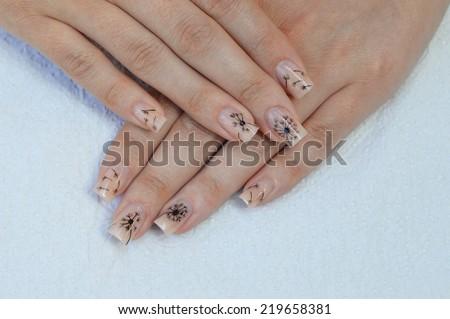 Beautiful Dandelions Nails Art Design On Stock Photo Edit Now