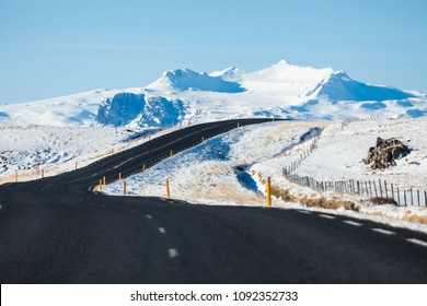 Beautiful and dangerous driving road in winter snow Iceland