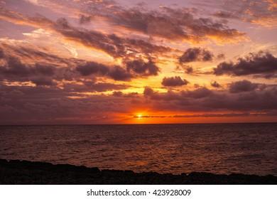 Beautiful dark cloudy sunset