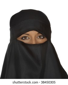 Beautiful dark eyed woman in traditional middle eastern niqab veil