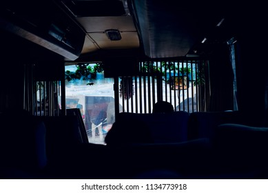 Beautiful dark interior decoration of a public bus isolated unique photo