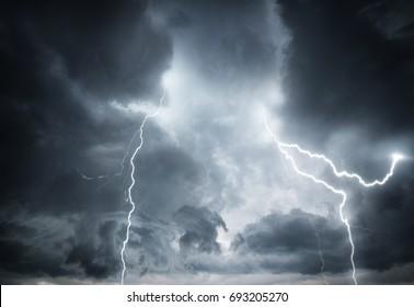 Beautiful dark storm sky. Clouds and thunder lightnings.