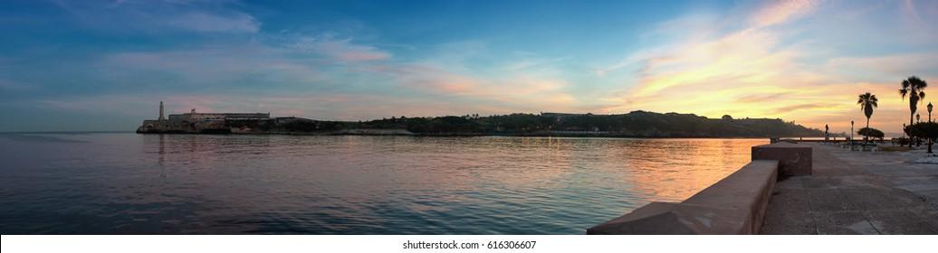 Beautiful dawn of Havana bay in cuba