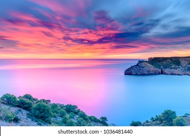 Beautiful Dawn at the Mediterranean Sea (Punta Montgo, Escala, Catalonia, Spain)