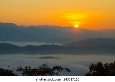 Beautiful dawn in the mountains , Tak, Thailand