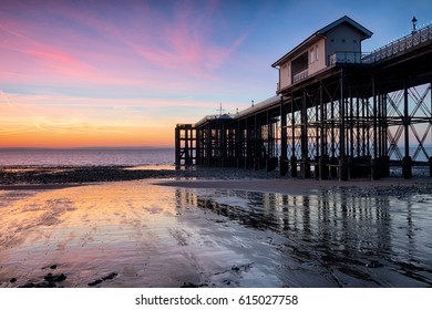 Beautiful dawn over Penarth Pier near Cardiff on the south Wales coastline