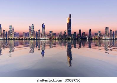 beautiful dawn view of kuwait cityscape