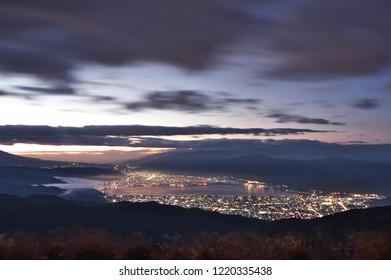 "Beautiful dawn view of Suwa city from ""Takabocchi"" in Nagano Prefecture, Japan. Nov. 3, 2018"