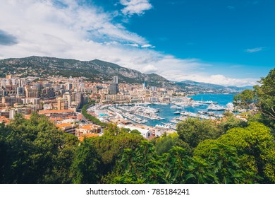 Beautiful day and Aerial View of Monte Carlo, Fontvieille, Monaco