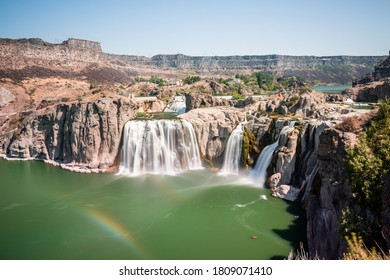 Beautiful day in the famous Shoshone Waterfalls park in Idaho in summer season