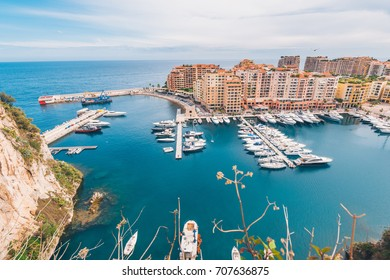 Beautiful Day at the Fontvieille Harbour Port in Monaco