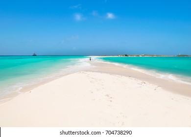 A beautiful day on the paradise beach in Cayo da Agua Island - Caribbean - Archipelago of Los Roques - Venezuela