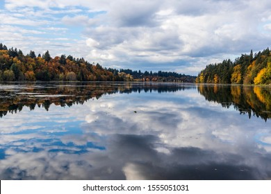 A beautiful day on the water in Olympia Washington. Reflection of the clouds can be seen on the water. Taken on September 14 2019