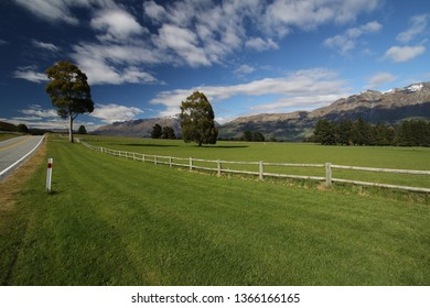 A beautiful day in a picturesque landscape in new zealand