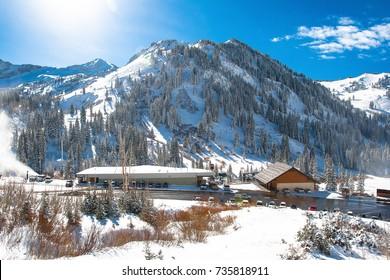 A beautiful Day at Ski Area, Sugar-loaf Mountain in Utah, USA