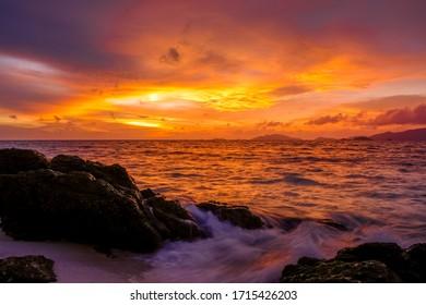Beautiful day sunset beach in Lipe island Thailand.
