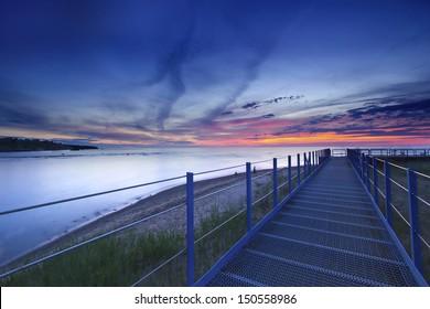 A Beautiful daybreak over the beach of Michigan Lake USA