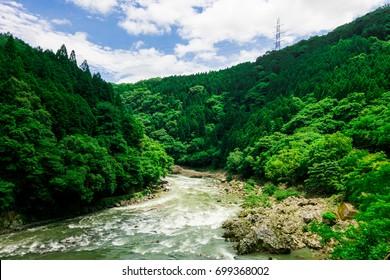 Beautiful Daylight in Spring Season at Hozugawa River in Arashiyama, Kyoto, Japan