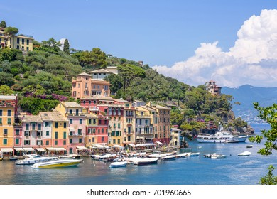 Beautiful daylight view to Portofino streets and ships on water. Italy beauties.