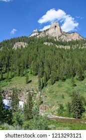 Beautiful daytime view of mountains in the Granite Creek Hot Springs area of Jackson Wyoming in the Bridger Teton National Forest.