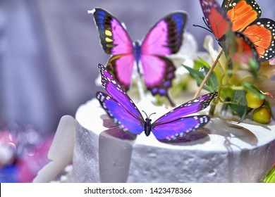 Beautiful decorated birthday cake with butterflies