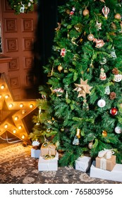 Beautiful decorated christmas tree with baubles