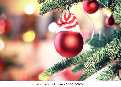 Beautiful decorated christmas tree. Bokeh background