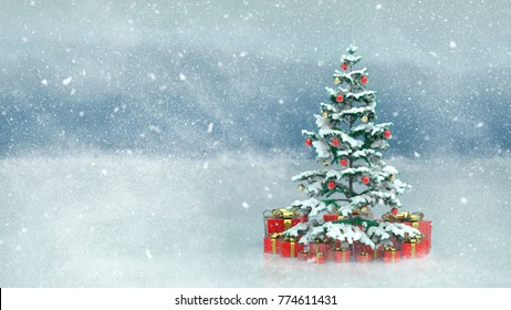 Beautiful decorated christmas tree with red present boxes in a snowy winter landscape