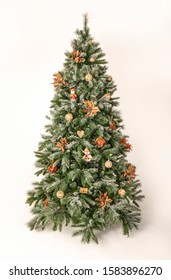 Beautiful decorated christmas tree with wooden deco