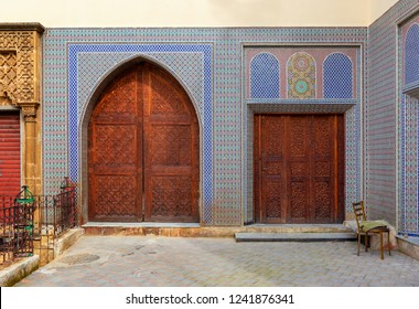 Beautiful decorated doors in the medina of Fez, Morocco